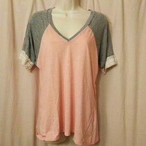 BKE Pink Gray Lace T-shirt